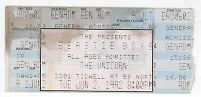 Mega Rare THE BEASTIE BOYS 6/2/92 Houston TX The Unicorn Concert Ticket Stub!