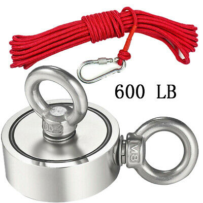 600LB Double Sided Fishing Magnet Kit Strong Neodymium Pulling Force With Rope