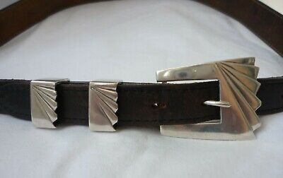 Stunning Rare Vintage Art Deco Sterling Silver Buckle & Fittings On Leather Belt