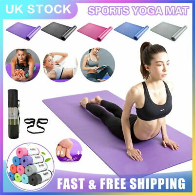 10mm Extra Thick Yoga Mat Non-Slip Exercise Pilates Gym Picnic Camping Straps UK