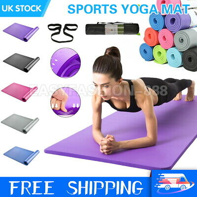10mm Extra Thick Yoga Mat Non-Slip Exercise Pilates Gym Picnic Carry Straps Bag