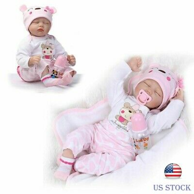 Full Realistic Girl Sleeping Reborn Dolls Real Lifelike Newborn Eyes ClosedDoll