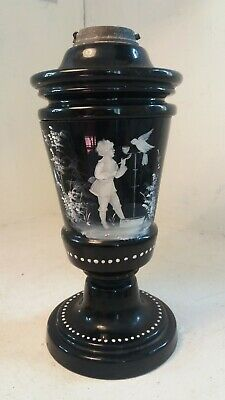 Antique Mary Gregory Black Glass Oil Lamp Base , ref 27