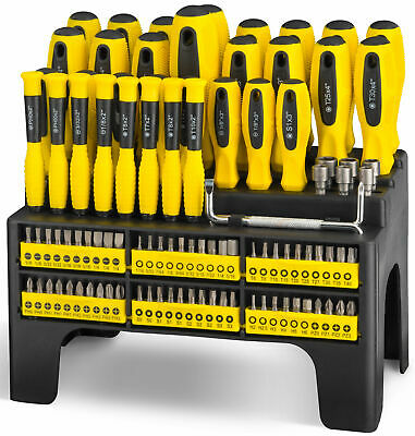 100pc Screwdriver and Bit Set Precision Pozdriv Hex Phillips Torx Square Slot