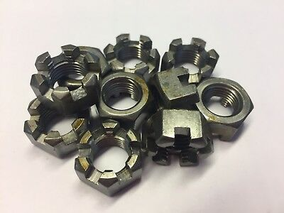(Qty 2) 1/2Unf Slotted Castle / Castellated Nuts Steel Self Colour / Unplated