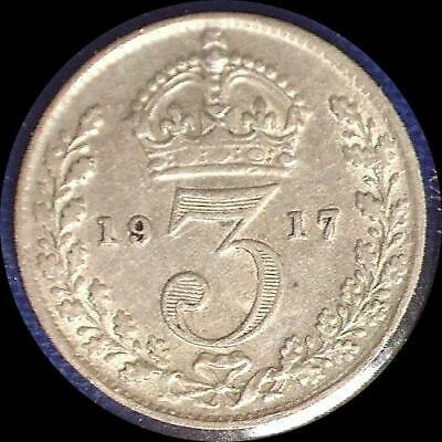 4 Great Britain threepence coins 1912. 1914, 1915, 1917 all sterling silver