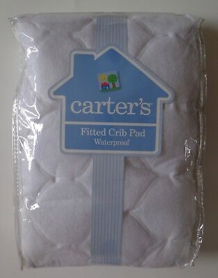 Carter's Fitted Crib Pad Keep Me Dry Waterproof White