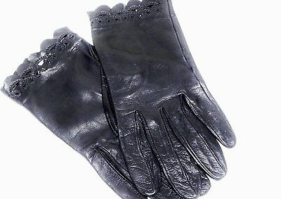 Vintage Fancy Scalloped Embroidered Black Leather Gloves Womens Size 6 Driving