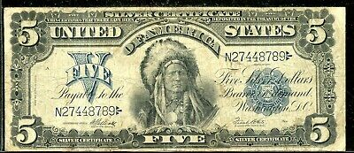 """Series of 1899 United States """"Chief"""" Silver Certificate $5 Large Size Note ED562"""