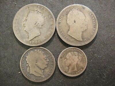 Four (4) Great Britain Antique Sterling Silver Coins. Good to Very Good.