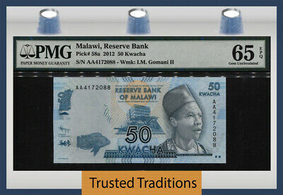 TT PK 58a 2012 MALAWI RESERVE BANK 50 KWACHA PMG 65 EPQ GEM UNCIRCULATED 2 OF 2!