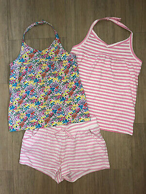 2x Halter Neck Tops (1x New) Pink Striped, Ditsy Flower & Shorts Next Age 12 VGC