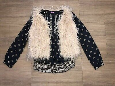 Embroidered Blouse 12-13 F&F; Fluffy Beige Gilet Body warmer Next 12 EXC