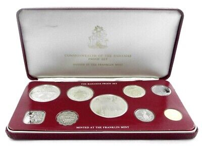 9 World Coins Franklin Mint 1976 The Bahamas Proof Set KM PS 14 ASW 2.8721