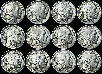 1934-1938 PDS BUFFALO NICKELS 5¢ Complete 12 Coin Short Set Full Date Nice Coins
