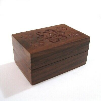 Wood Trinket Pill Box Hand Carved Flowers Wooden Small Box