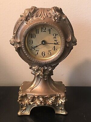 Antique 1904 Ansonia Waterbury New Haven Gold Floral Novelty Mantle Desk Clock