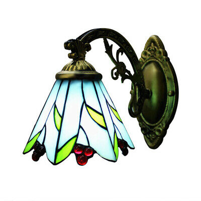 Tiffany Style Wall Sconce Lamp Antique Cherry Stained Glass Wall Light Fixture