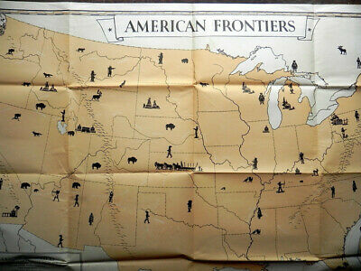 QUAKER OATS Co Vintage 1935 Classroom Teaching Aid AMERICAN FRONTIERS Lithograph