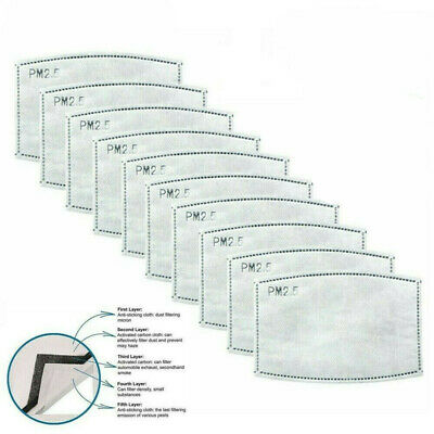 50pcs PM2.5 5 Layer Filter Activated Carbon Filters Pads Replace Breath Insert