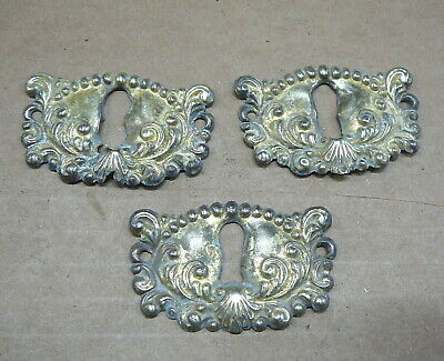 SET of 3 ANTIQUE SALVAGED  BRASS KEYHOLE COVERS ESCUTCHEONS 1-7/8 x 1-1/4 - #4