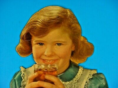 RARE 40's Vintage DOUBLE COLA Old Country Store Girl Drinking Soda Stand Up Sign