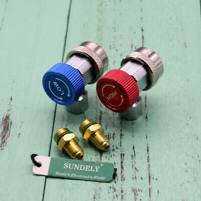 Car Air Con Connector Fits A/C Manifold Gauge Adapter R134A Lo/Hi Coupler Set UK