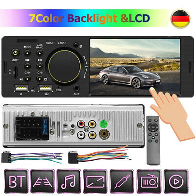 1Din Autoradio Mit Bluetooth Bildschirm Display Video Monitor Freisprech Usb Tf