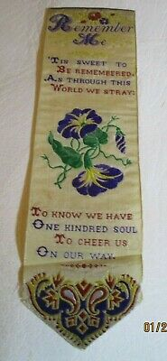 """Antique Stevengraph Woven Silk Bookmark Remember Me """"Tis Sweet To Be Remembered"""