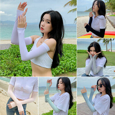 Womens Lady Outdoor Ice Sleeves Sunscreen Arm Protection Sleeves Long Breathable
