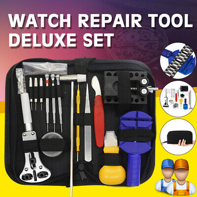 147pcs Watch Repair Tool Kit Bask Case Band Strap Remover Opener Spring Pin Bar