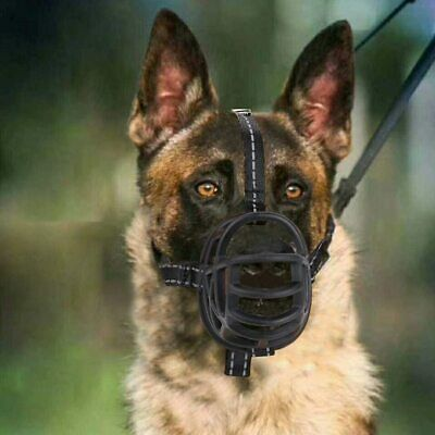 Large Dog Muzzle Basket Cage Adjustable Strap Flexible Soft Silicone