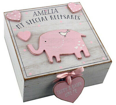 Personalised Engraved Baby Wooden Elephant Keepsake Box Pink Memory Box