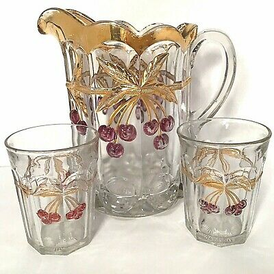 North Wood Pitcher Set Antique Cherry & Cable Cherries & Thick Gold 56 Oz.