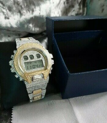 Mens Iced Out Digital Watch VVS Shock watch homage diamond watch two tone gold..