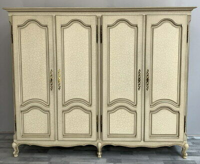 Louis XV Style shabby chic French Carved 4 door  Armoire Wardrobe