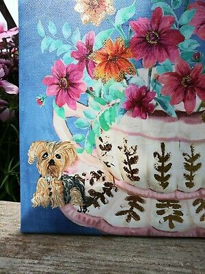 Hand Painted yorkshire terrier yorkie painting  canvas summer beauty