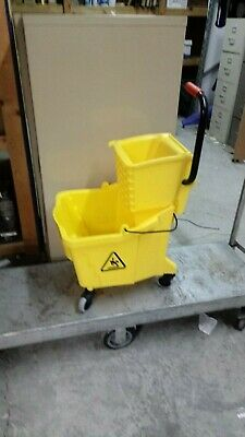35 Quart Commercial Mop Bucket with Side Press Wringer, Yellow