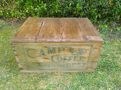 Vintage Old Pine Camp Coffee Advertising Crate Chest Box Trunk