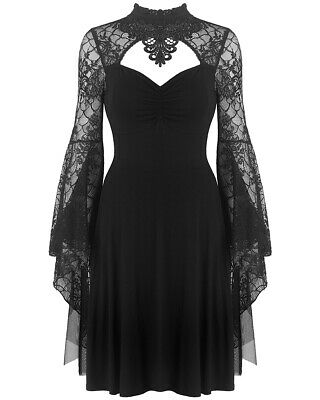 Dark In Love Gothic Dress Black Lace Mesh Long Witch Sleeve Steampunk Vampire