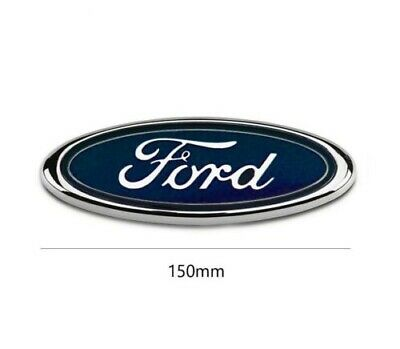 Ford Blue 150mm Rear Front Badge Transit Focus Mondeo Oval Chrome Boot