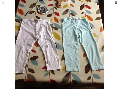 Lovely Two Pairs Of Girls Leggings And Cat Shorts 4-6 Years In Clean  Condition
