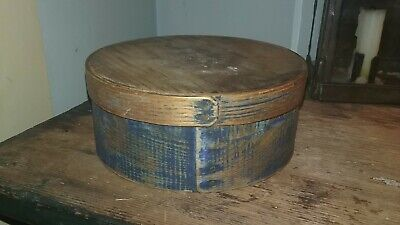 Antique Early 19th C Primitive Pantry Box Signed w/ Original Blue Paint