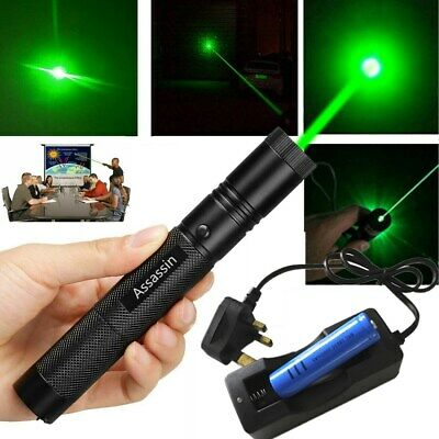 UK 900Mile Teaching 532nm Green Laser Pointer 1mW Rechargeable Battery+Charger