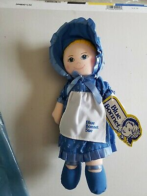 1980s Blue Bonnet Sue Plush Baby Doll , vintage  new still has tags
