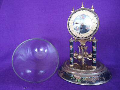 Antique Glass Domed 400 Day German Mantle Clock. Spares Or Repair.