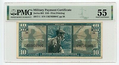 Series 681 $10 Military Payment Certificate (About Uncirculated 55) PMG