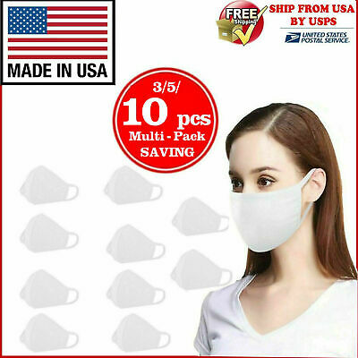 Washable Cotton Face Mask Reusable, White, Made In Usa 3/5/10 Pcs In 1 Pack