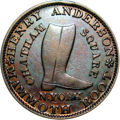 1837 New York City Hard Times Token Anderson Mammoth Boot HT-219 Low 107