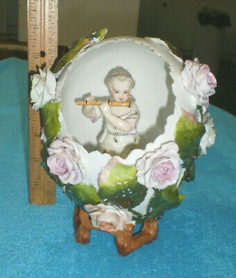 LARGE HATCHED SITZENDORF EGG with GIRL PLAYING FLUTE FIGURINE INSIDE